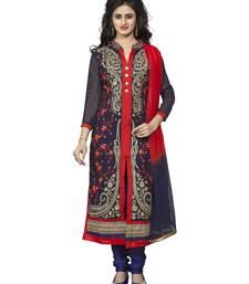 Buy Navy blue embroidered chanderi silk unstitched salwar with dupatta salwar-kameez online