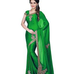 Buy Green embroidered satin saree with blouse satin-saree online