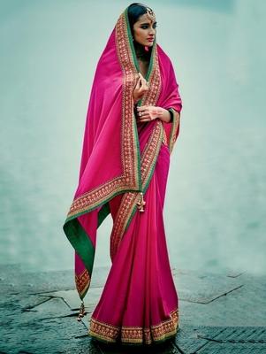 Rani pink embroidered banarasi silk saree with blouse