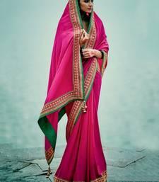 Buy Rani pink embroidered banarasi silk saree with blouse banarasi-silk-saree online