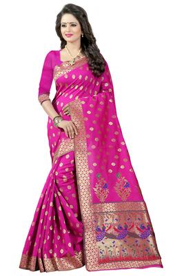 Pink woven paithani art silk saree with blouse
