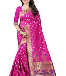 Buy Pink woven paithani art silk saree with blouse paithani-saree online