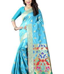 Buy Sky blue woven paithani art silk saree with blouse paithani-saree online