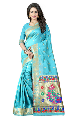 Sky blue woven paithani art silk saree with blouse
