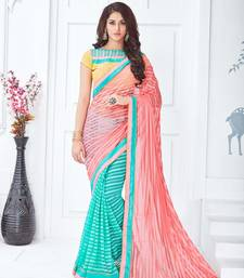 Buy Salmon embroidered net saree with blouse net-saree online