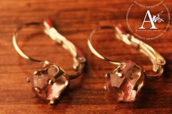 Big Pink Crystal Shell Earrings Brushed Silver attached Pink Gemstone