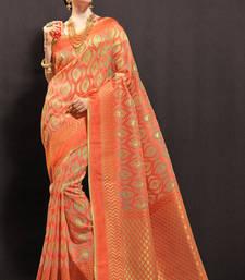Buy peach woven organza saree with blouse organza-saree online