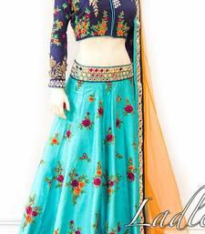 Buy Sky blue embroidered banglory silk unstitched lehenga ghagra-choli online
