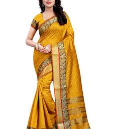 Buy Yellow hand woven cotton silk saree with blouse cotton-silk-saree online