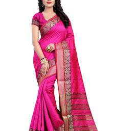 Buy Pink hand woven cotton silk saree with blouse cotton-silk-saree online