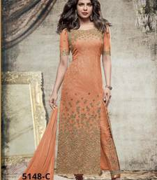 Buy orange embroidered net semi stitched salwar with dupatta semi-stitched-salwar-suit online