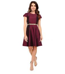 Buy Maroon plain silk party-wear-kurtis party-wear-kurti online