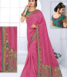Buy Light violet hand woven jute saree with blouse jute-saree online