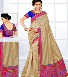 Buy Beige hand woven kanchipuram silk saree with blouse pongal-dhoti-saree online
