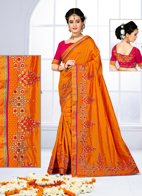 Mustard hand woven silk saree with blouse