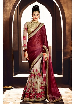 Dark maroon embroidered georgette saree with blouse