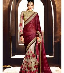 Buy Dark maroon embroidered georgette saree with blouse eid-saree online
