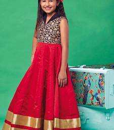 Buy Red zardosi tafetta silk kids salwar kids-salwar-suit online