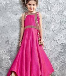 Buy Pink zardosi phentom silk kids salwar kids-salwar-suit online
