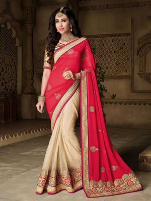Dark red embroidered art silk saree with blouse