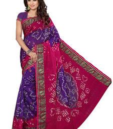 Buy Rani pink printed cotton silk saree with blouse bandhani-sarees-bandhej online