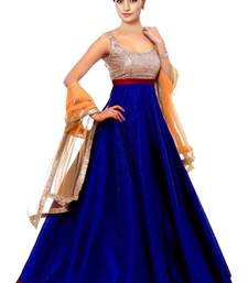 Buy Blue plain pure taffeta semi stitched salwar with dupatta anarkali-salwar-kameez online
