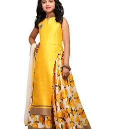 Buy White button new arrival latest girl's yellow banglori silk indo western style readymade partywear lehenga choli dress kids-frock online