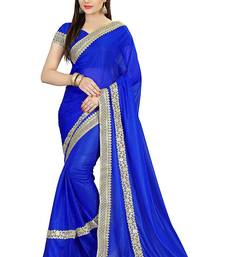 Buy Blue hand woven lycra saree with blouse mehendi-ceremony-dress online