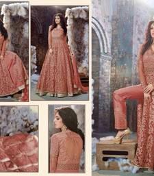 Buy Orange embroidered georgette unstitched salwar with dupatta ethnic-suit online