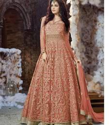 Buy Orange embroidered georgette unstitched salwar with dupatta wedding-salwar-kameez online
