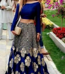 Buy Blue embroidered cotton unstitched lehenga cotton-lehenga online