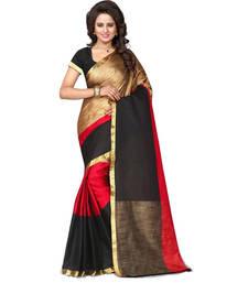 Buy Red stripes tussar silk saree with blouse cotton-silk-saree online