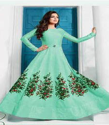 Buy Turquoise embroidered art silk semi stitched salwar with dupatta silk-georgette-salwar online
