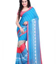 Buy sky_blue printed georgette saree with blouse georgette-saree online
