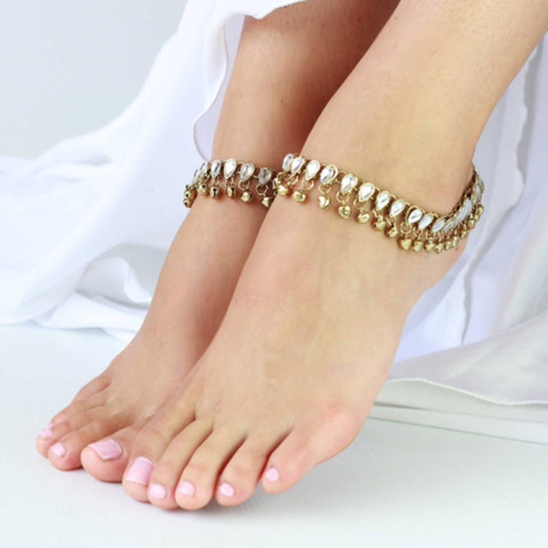 Buy Anklets Payal Pair Gold Plated Kundan Bells Online