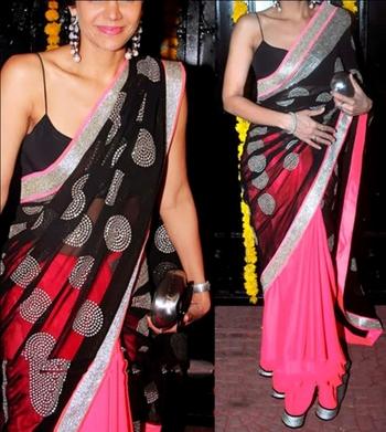 Indian Replica Ethnic Mandira Neon Orange Half Net Half Gorgette Saree