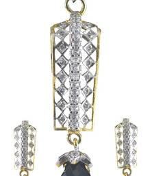 Buy American diamond pendant set with black dropper Pendant online