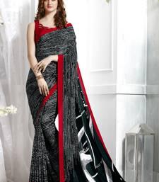 Buy Black printed crepe saree with blouse crepe-saree online
