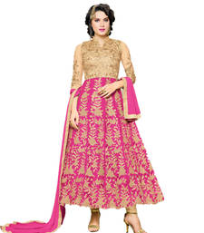 Buy beige embroidred net semi stitched salwar with dupatta dress-material online