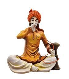 Buy Polyresine Rajasthani Man Drinking Hukka (Best for Home Decor) sculpture online
