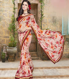 Buy Peach embroidered georgette saree with blouse ethnic-saree online