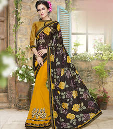Buy Black and yellow embroidered lycra and georgette saree with blouse ethnic-saree online