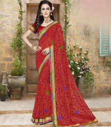 Buy red embroidered georgette saree with blouse ethnic-saree online