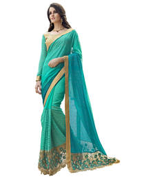 Buy Green embroidered chiffon saree with blouse net-saree online