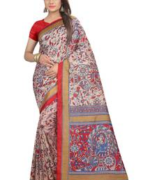 Buy Red printed art_silk saree with blouse art-silk-saree online
