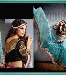 Buy Aqua blue embroidered georgette saree with blouse heavy-work-saree online