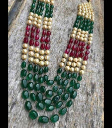 Buy Semi Precious Red and Green Mani stones Multistrand Necklace with Pearls Necklace online