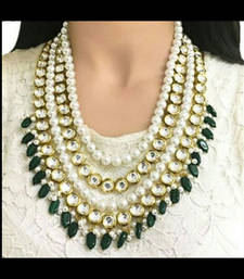 Buy Kundan and Pearls Multistrand Necklace With Green Onyx Stone Droplets Necklace online