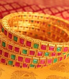 Buy Gorgeous matte finish ruby-emerald bangles - DJ09701 bangles-and-bracelet online