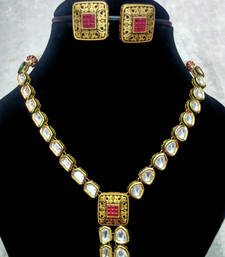 Buy Babosa Sakhi Elegant Rubi Gold Plated Kundan Necklace Set necklace-set online